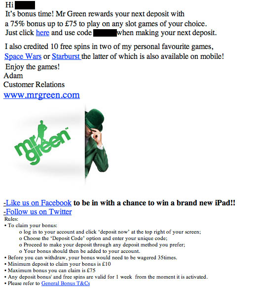 mr green free spins emails
