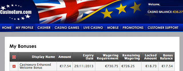 wagering requirements casinoeuro