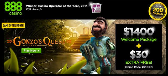 888 Casino Gonzos Quest Extra 30 Euro