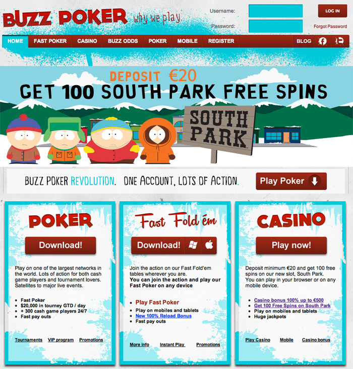 Buzz Poker Casino - South Park Free Spins