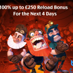 100% up to £250 RELOAD bonus codes available at BGO Casino