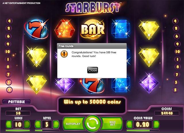 100 Starburst free spins