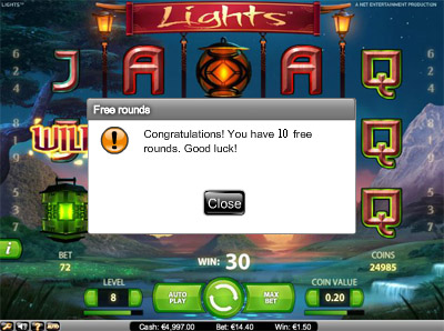 Lights - 10 Free Spins No Deposit Required at Mr Smith