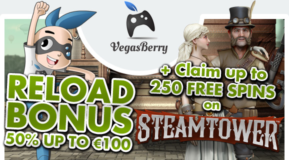 Up to 250 Steam Tower Free Spins -Vegas Berry