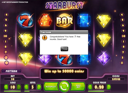 5 Starburst free spins - - No Deposit Required