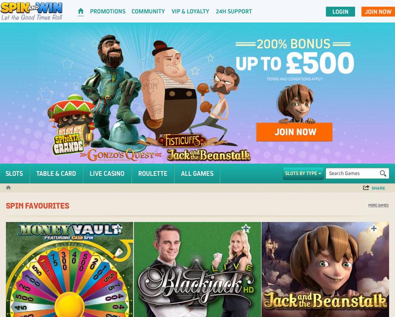 Spin and Win Casino Review – £500 Deposit Bonus