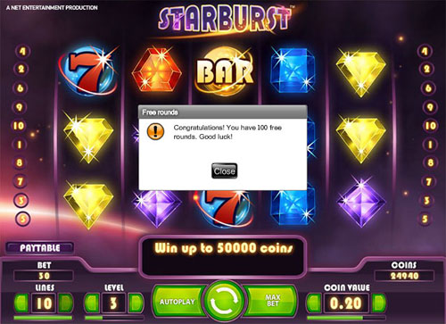 100 Starburst free spins at All British Casino