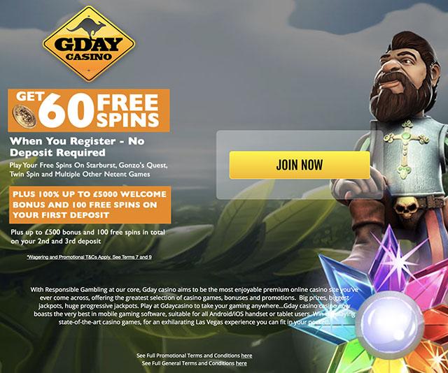 60 free spins no deposit gday casino