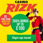 Best UK Casino 2016: Rizk Casino LIVE in the UK with 10 Free Spins No Deposit Required & a massive 200% Bonus