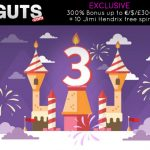 **Available for 5 Days only** EXCLUSIVE Guts Bonus Code to unlock a 300% Bonus up to €/$/£300 + 10 Jimi Hendrix free spins