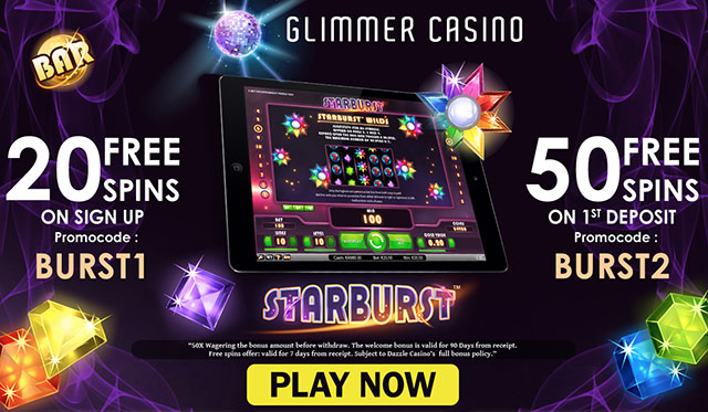 Glimmer Casino 20 Starburst No Deposit Free Spins On Sign Up