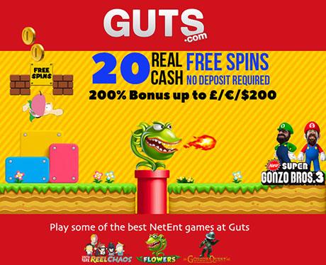 GUTS CASINO - 20 No deposit free spins **EXCLUSIVE**