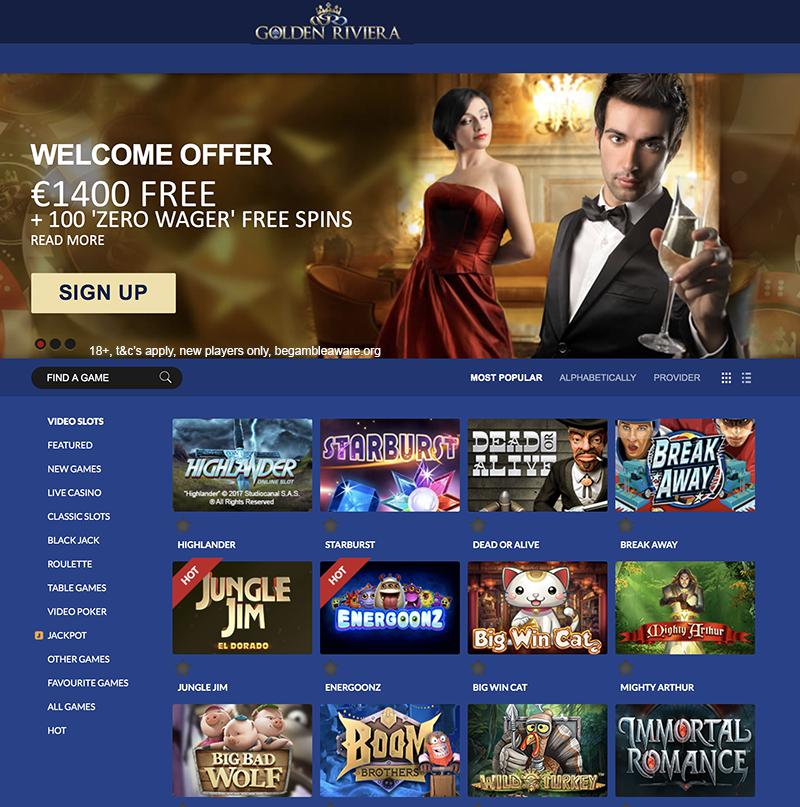 golden riviera casino free spins