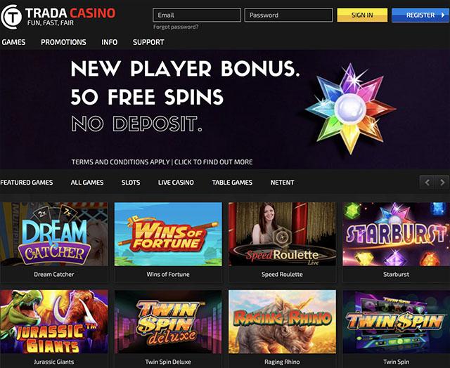 50 free spins no deposit trada casino
